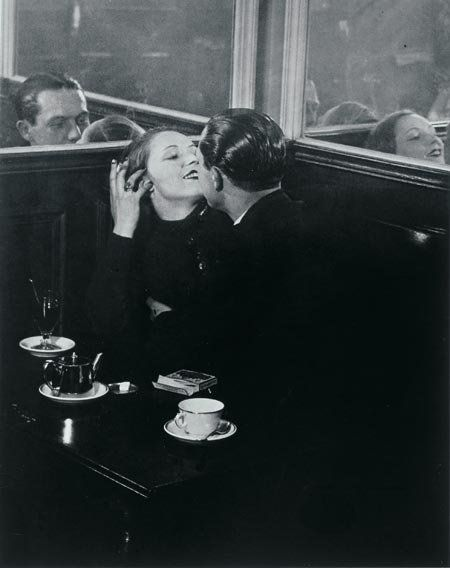 Lovers in a Cafe, Paris, c. 1932, by Brassaï - Look at the men's slick hair!