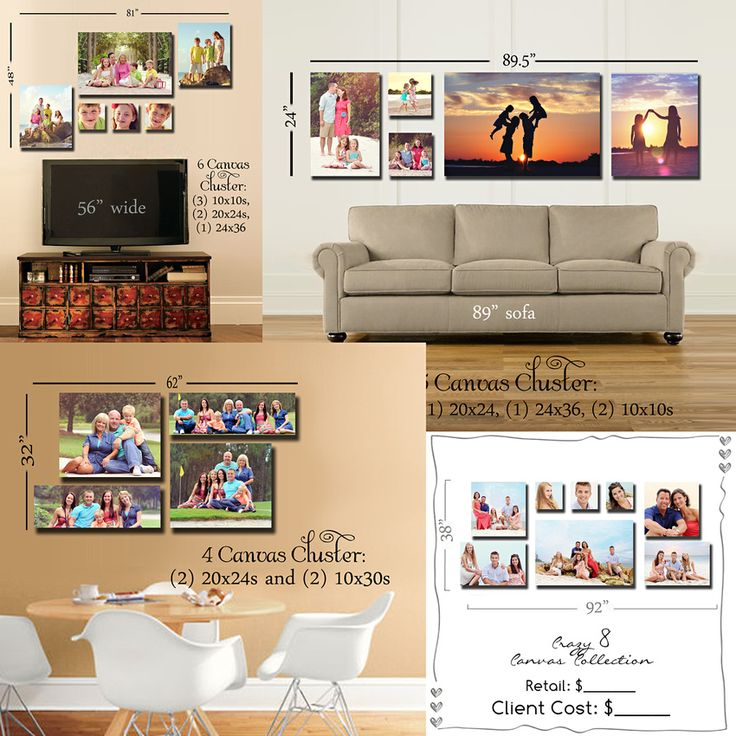 Room View Templates showing various canvas groupings - all canvas sizes made by Artsy Couture!