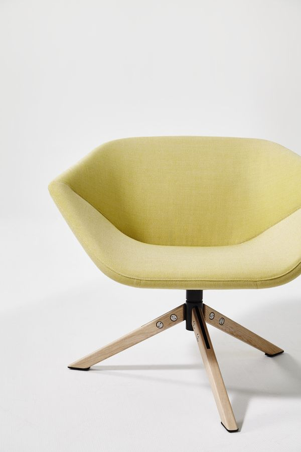 Upholstered trestle-based fabric easy chair with armrests ELLA |  @montisdesign