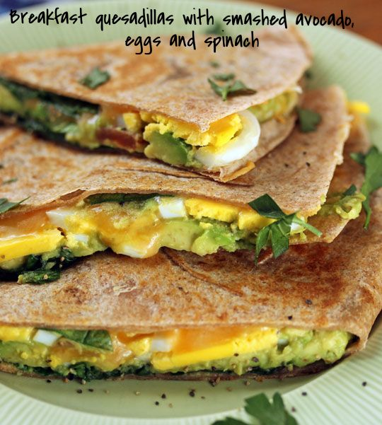 Breakfast quesadillas with smashed avocado, eggs and spinach {vegetarian} {http://www.theperfectpantry.com/}