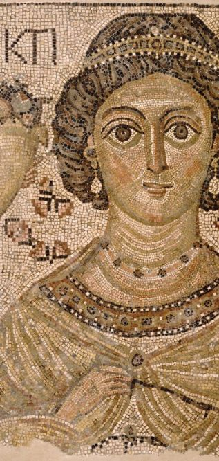 Byzantine Fragment of a Floor Mosaic with a personification of Ktisis, 500-550, marble and glass. The Metropolitan Museum of Art