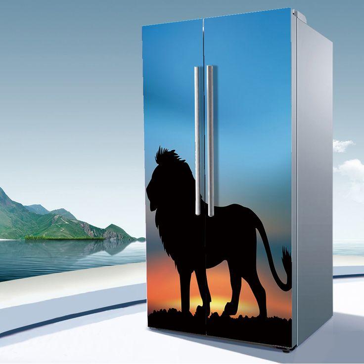 yazi Lion Self-adhesive PVC Double Door Fridge Sticker Waterproof Wall Sticker Two Doors Refrigerator Cover Window Film