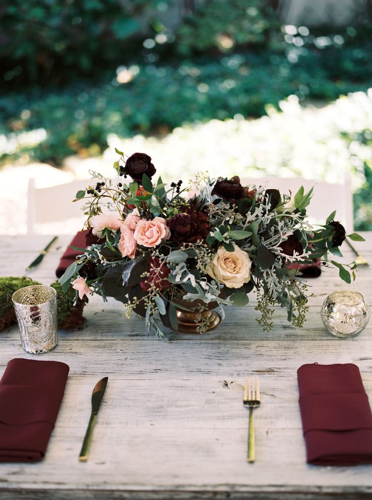Deep plum ranunculus,  burgundy dahlias, and lush greenery // Nashville Wedding Floral Design
