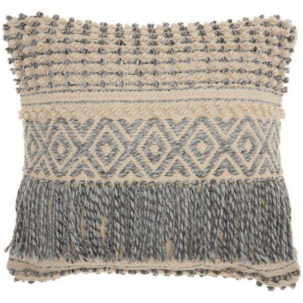 Ellijay Bohemian Textured Wool Cotton Throw Pillow Bohemian Throw Pillows Blue Throw Pillows Throw Pillows