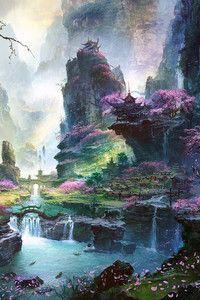 Chinese Waterfalls iPhone 5 Wallpaper