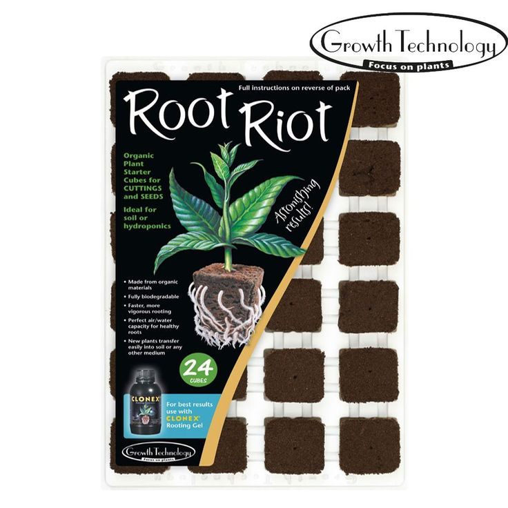PlugsRoot Riot® Made from composted organic materials, these cubes have a great spongy texture which retains the perfect air/water ratio for healthy, rapid root growth.  Suitable for both cuttings and seeds, Root Riot® consistently outperforms alternative media.  The cubes are specially inoculated with micro nutrients to nourish the young plants, and also beneficial rooting fungi to aid root development.  Perfect for cuttings:  Perfect for seeds:  From £4.99