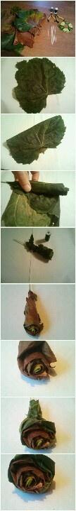 Rozen van bladeren maken.