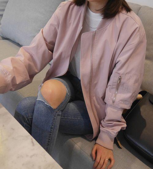 Pinterest: samingram3 ☆ pink bomber, ripped knee jeans, white top