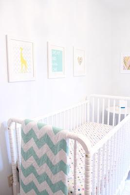 nursery - pale aqua, nursery prints, chevron quilt