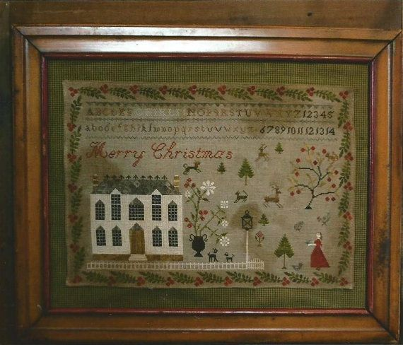"STACY NASH PRIMITIVES ""Christmas at Hollyberry Farm"" | Cross Stitch Early Primitive Christmas Pattern | Holiday House, Alphabet Sampler"