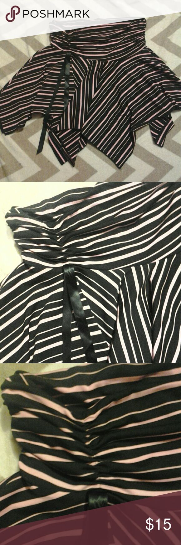 Ruffle Skirt Throwback or vintage ruffle skirt. Black & pink stripes with black ribbons. Size large. Juniors. Lots of stretch. Gently used.  Think Mean Girls with Rachel McAdams and Lindsay Lohan! Skirts Mini