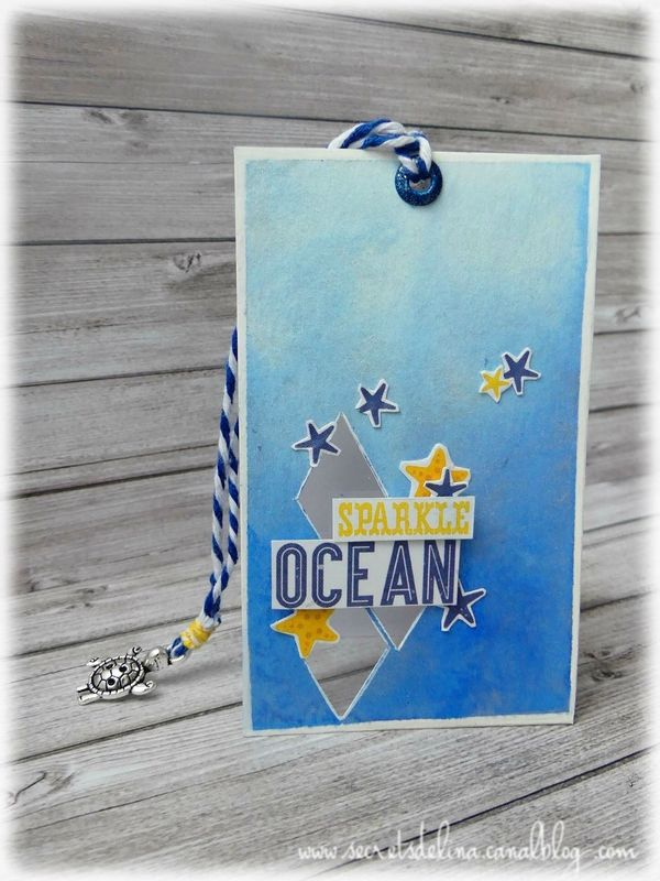 Card sea sparkles carte mer etiles losange tortue #scrapbooking