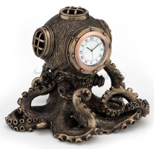 Steampunk-Octopus-Diving-Bell-Clock-Statue-Nautical-Sculpture-HOME-DECOR