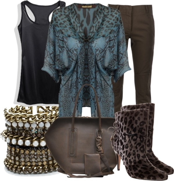 """ROBERTO CAVALLI Leopard Snake V-Neck Kaftan Top"" by aannggiiee ❤ liked on Polyvore"