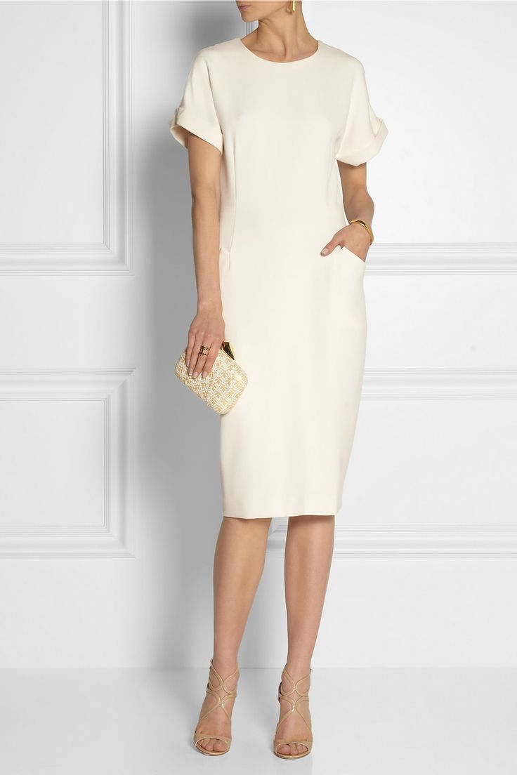 By Malene Birger | Azelia ponte dress | NET-A-PORTER.COM Refresh day-to-night looks with By Malene Birger's double-knit ponte dress. This mid-weight style has rolled short sleeves, welt pockets and a zip-fastening back slit. Complement the pristine hue with gold accents.  Off-white ponte Concealed hook and zip fastening at back 61% polyester, 33% viscose, 6% elastane; lining: 100% viscose