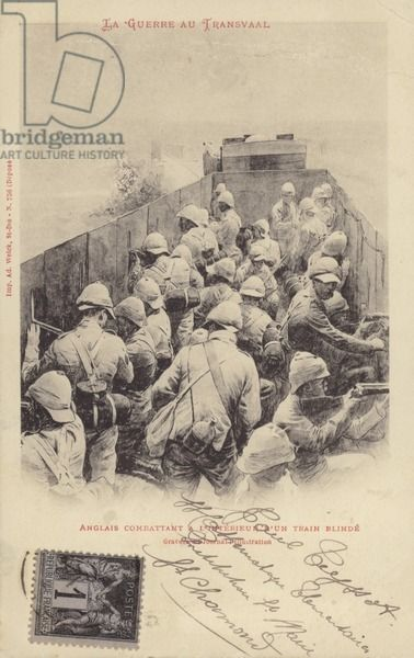 Postcard depicting English soldiers travelling in a train during the Boer War, in the Transvaal, South Africa.
