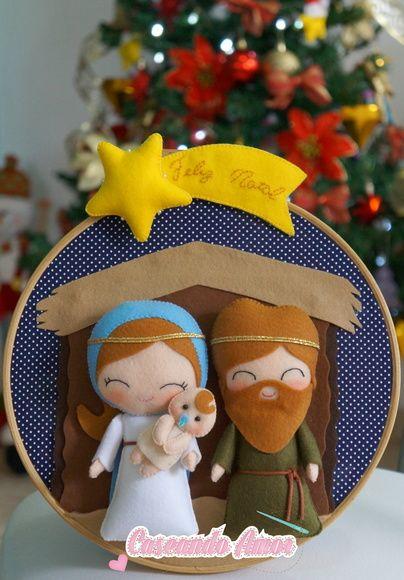 Quadrinho Sagrada Família em feltro