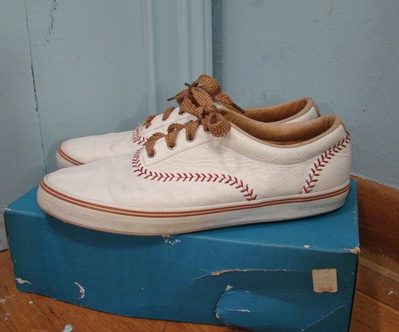 Baseball Keds Tennis Shoes- White Leather- 1990's