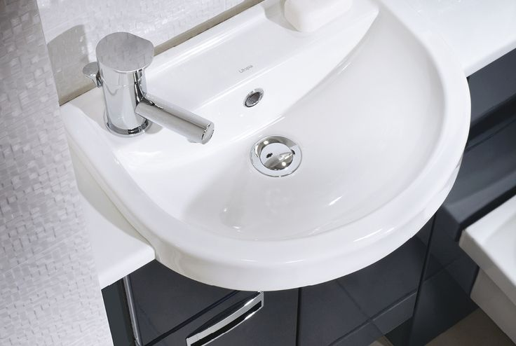 Quantum round semi-recessed cloakroom basin and reduced depth units in midnight grey gloss #fittedfurniture #bathoomfurniture #cloakroom #myutopia