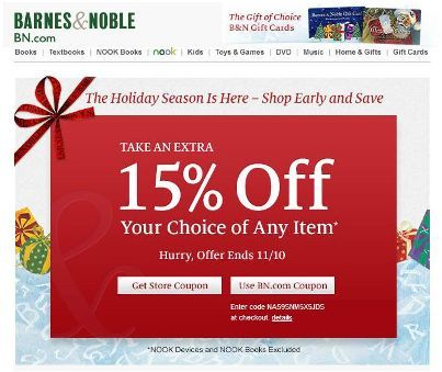 Holiday sale get 15 off at barnes amp noble use code