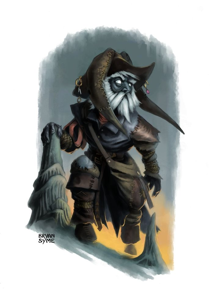 Droki by BryanSyme Out of the Abyss deep gnome Svirfneblin pirate rogue thief assassin ranger tracker bard armor clothes clothing fashion player character npc   Create your own roleplaying game material w/ RPG Bard: www.rpgbard.com   Writing inspiration for Dungeons and Dragons DND D&D Pathfinder PFRPG Warhammer 40k Star Wars Shadowrun Call of Cthulhu Lord of the Rings LoTR + d20 fantasy science fiction scifi horror design   Not Trusty Sword art: click artwork for source