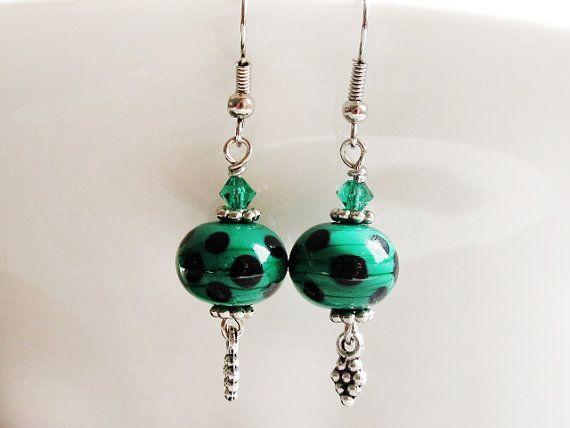 Petroleum Green Lampwork Earrings Polka Dot by GlassHouseLampwork
