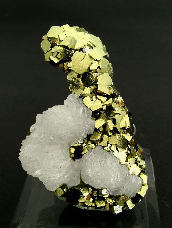"""Pyrite with Calcite, Minas da Panasqueira / level 3, Aldeia de São Francisco de Assis, Covilhã, Castelo Branco, Centro  Portugal (2004)  Specimen size: 4.5 × 3.5 × 1.5 cm = 1.8"""" × 1.4"""" × 0.6"""""""