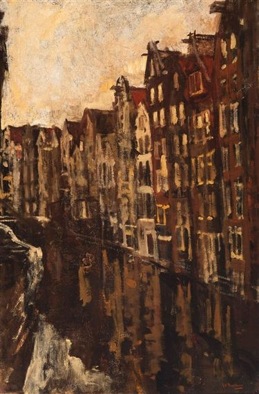 George Hendrik Breitner - View of the Oudezijds Achterburgwal, Amsterdam; Medium: Oil on canvas
