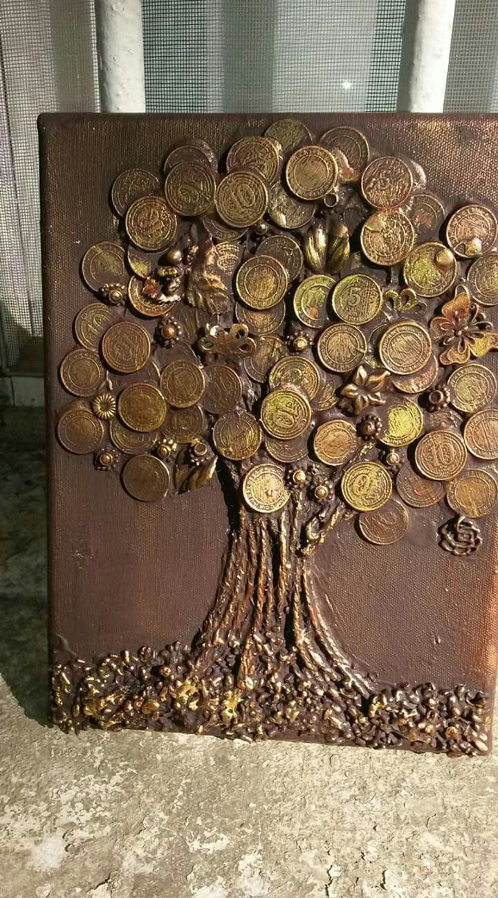 Art made with coins Coins Tree Coins art penny art .cool things to make with coins