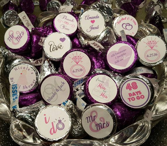 Hershey Kiss Stickers, Wedding, Bridal Shower, Stickers for Favor Bags, Personalized Stickers, Labels