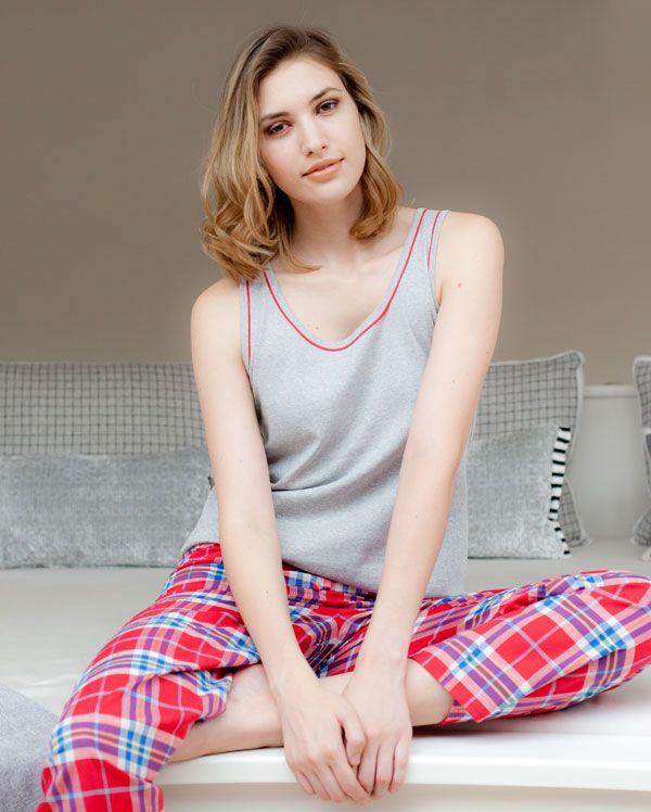 Soft Knitted Vest and Check Pant Pyjama Set. Nicole by Cyberjammies £40.50 Pajama