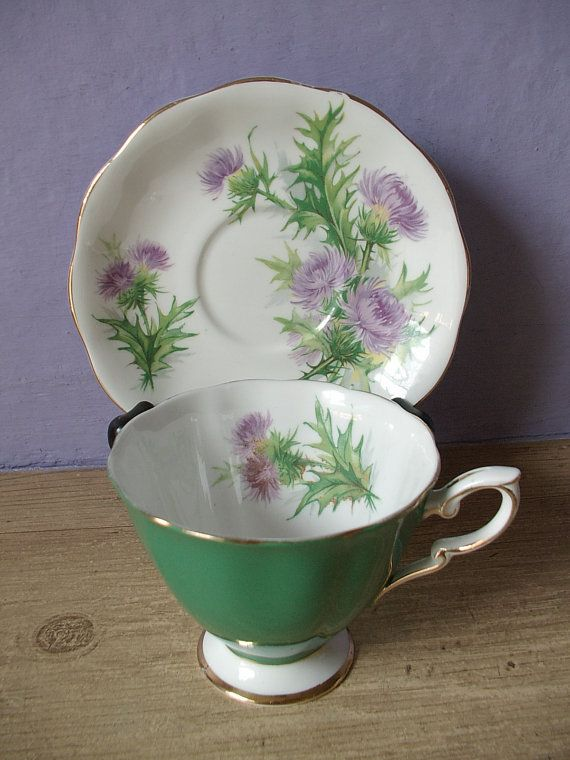 Vintage Royal Standard green tea cup and saucer set, lilac purple thistle cup…