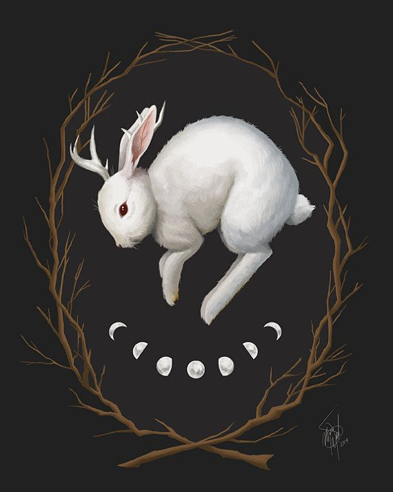 Midnight Run, 11x14 giclee print, jackalope painting, rabbit art, jackalope art, gothic art, dark nature inspired artwork, fantasy creatures by MeganMissfit