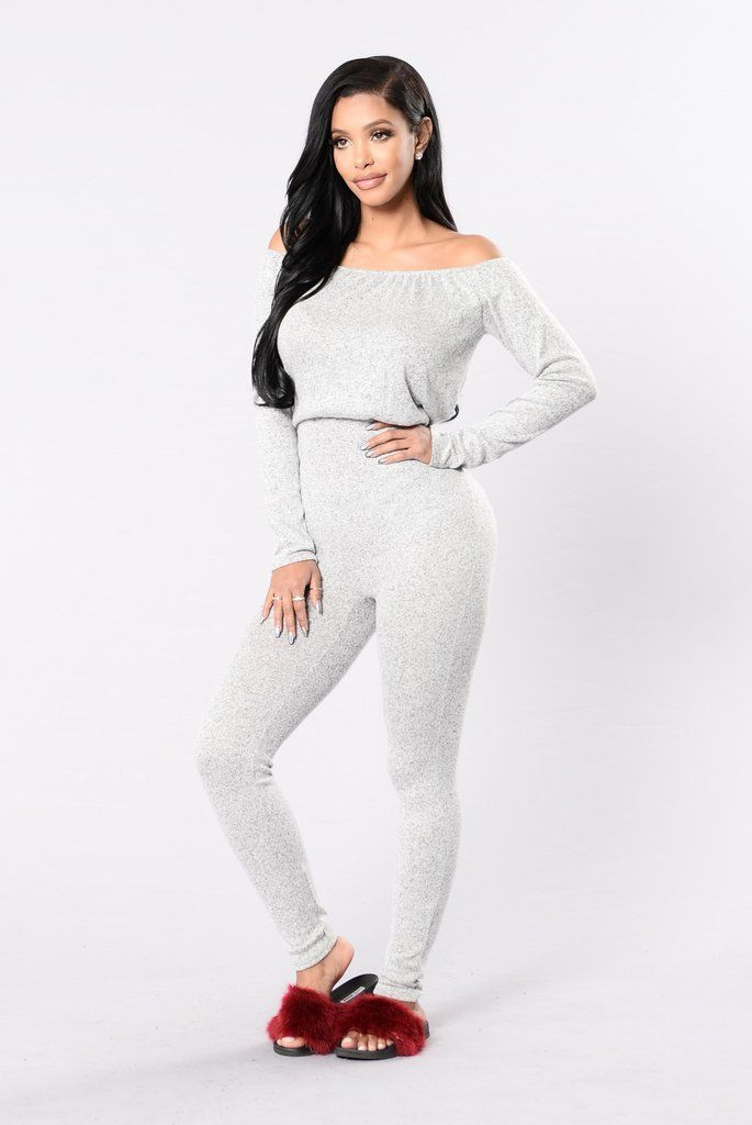 - Available in Charcoal and Heather Grey - Off the Shoulder - Long Sleeve - Skinny Leg - 22% Polyester, 74% Rayon, 4% Spandex