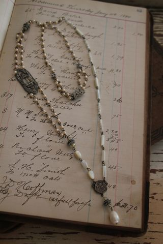 rosary style necklace with vintage beads, from Vintage Flair