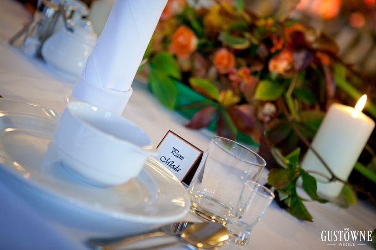 Pomarańczowe, jesienne dekoracje stołu / Orange, autumn table decorations