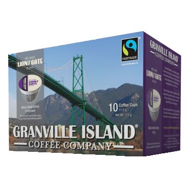 Granville Island Coffee Company Lion Gate. Dark/Medium Roast. Our Lions Gate coffee is a blend of French roasted Fairtrade Central American bean, bold and intense, with a rich chocolate finish.