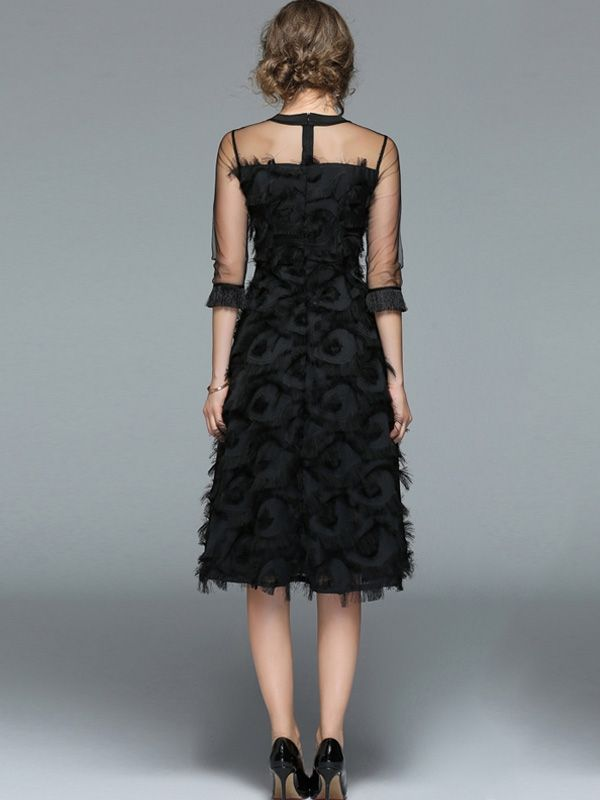 1d4761880ad29 Perspective Tulle Stitching Tassel Feathers Black Dresses | Long ...