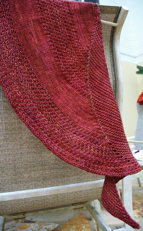 Simple Crescent shaped knit shawl -  any yarn, any needle, any size.