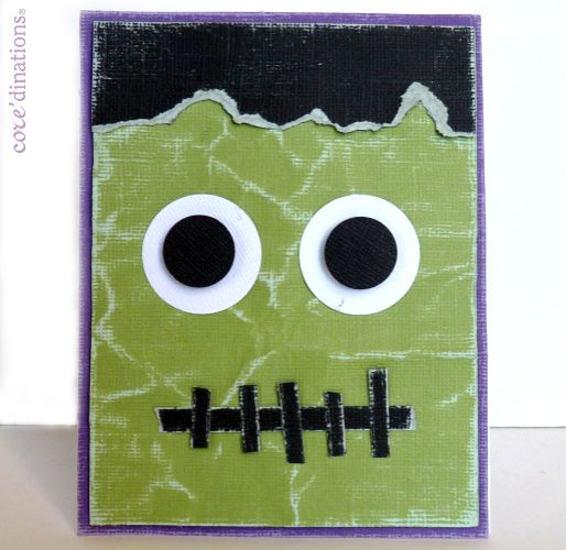 crumpled and sanded green paper makes a perfect monsters face video tutorial demonstrates the sand it gadgetshandmade halloween cardsgreen - Photo Halloween Cards