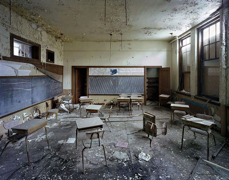 Classroom at St. Margaret Mary School from The Ruins of Detroit series by Yves Marchand and Romain Meffre.