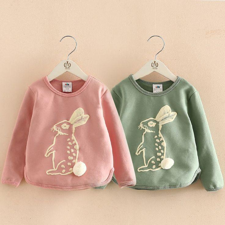 Baby girl rabbit sweatshirt 2017 autumn Girls Hoodies Clothes children's Sweatshirts child fleece pullover for 2-6 Years //Price: $ //     #kids