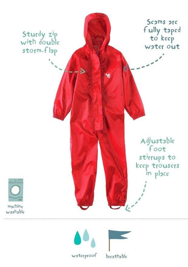 Waterproof overall, regenoverall - rood - www.chick-a-dees.nl