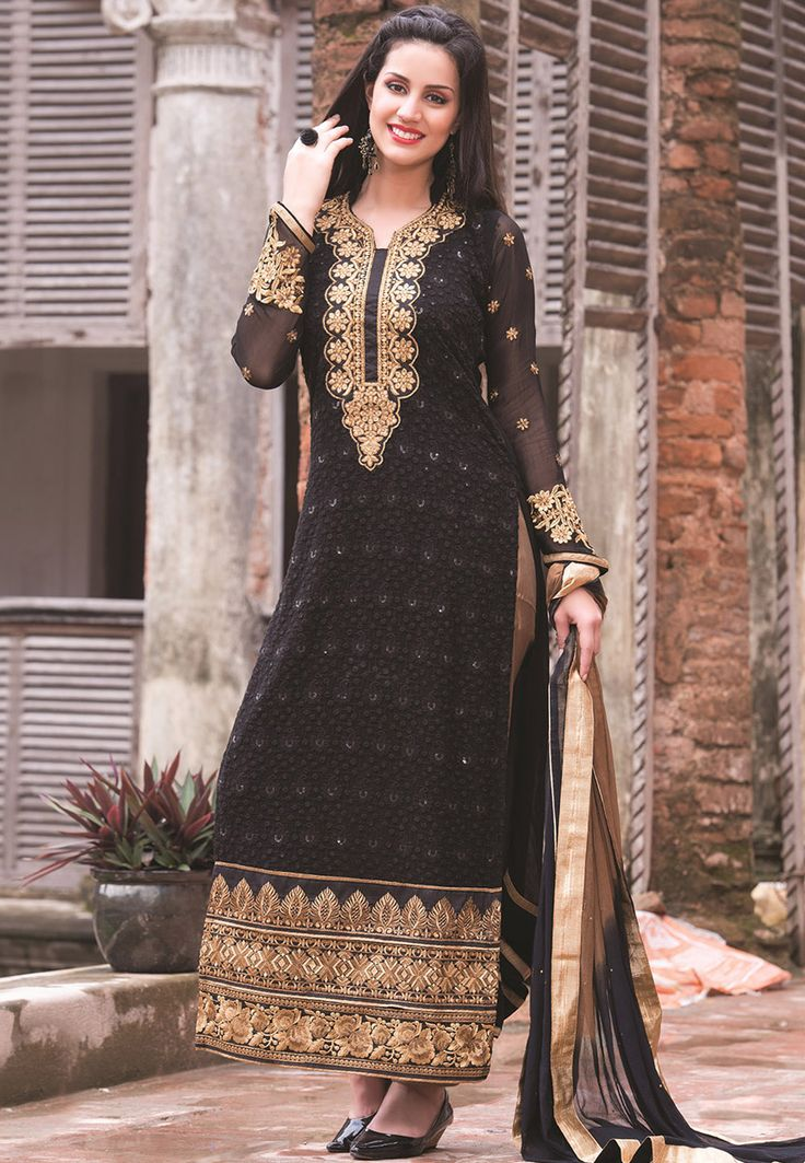 Buy Black Faux Georgette Abaya Style Churidar Kameez online, work: Embroidered, color: Black, usage: Party, category: Salwar Kameez, fabric: Georgette, price: $86.00, item code: KAE121, gender: women, brand: Utsav