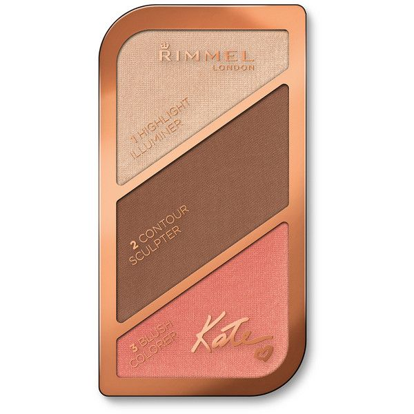 Rimmel Kate Sculpting Highlighter Palette (18.5g) - 003 (16 BAM) ❤ liked on Polyvore featuring beauty products, makeup, face makeup, rimmel, palette makeup, pressed powder makeup, rimmel cosmetics and rimmel makeup