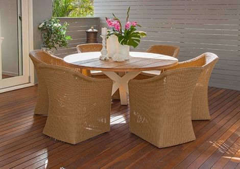 7pce Beauville 1.5m & Helena Teak/Honey/Indian Tan.  I love this. It fits your dining area beautifully and also matches in with your lounge setting.