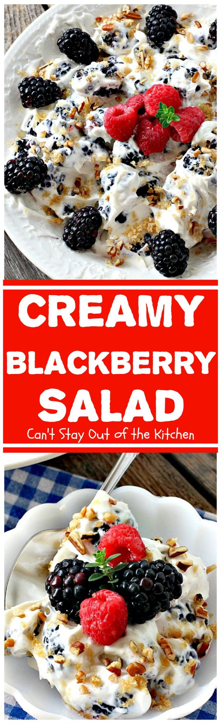 Creamy Blackberry Salad | Can't Stay Out of the Kitchen | this #fruit #salad is divine! It's perfect for summer #holidays, backyard BBQs or potlucks. Easy & delicious. #blackberries #glutenfree