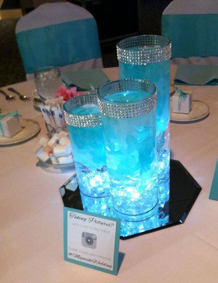Stunning Tiffany Blue Centerpiece! Petals and LED lights inside vase!