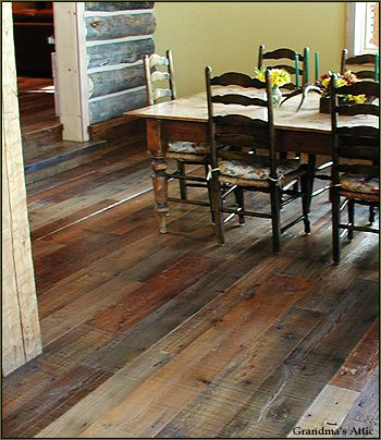 Loving Right Now....reclaimed wood floors!! Love the rustic look :) and helping the environment!