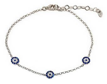 Evil eye Bracelet 925 Sterling Silver Three Charm Zircon Stones Turkish Fashion Jewelry